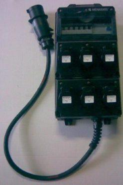 Quadro elettrico per fiere 6 prese 220 volt 16 amp nero