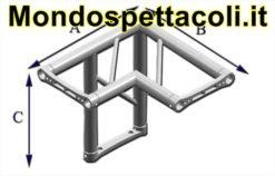 P25L - Angolo sezione piana da 25 cm Angolo 90 ° a 3 vie
