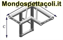 P40L : Angolo sezione piana da 40 cm Angolo 90 ° a 3 vie