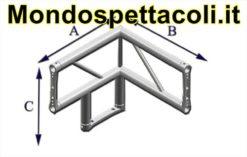 P40L - Angolo sezione piana da 40cm Angolo 90° a 3 vie