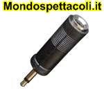 AD125 Adattatore da spina Ø 3,5 mm. mono a presa Ø 6,3 stereo.