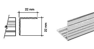 Profilo angolare 22 x 22 mm AL3341 lunghezza 2 metri