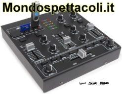 Mixer da Dj a 4 canali con effetti sonori e USB Mp3