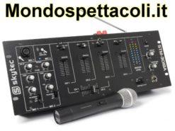 Mixer amplificato a 6 canali con radiomicrofono ed effetto voce