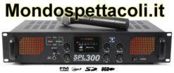Amplificatore 300 watt con radiomicrofono USB e radio FM