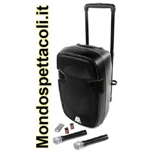 Cassa Portatile a batteria 2 radiomicrofoni lettore MP3