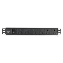 "19"" 6 way socketbox presa BS-613 (UK), 1,5 U"