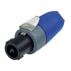 2p. Speakon Plug Male Alloggiamento nero, cappuccio blu
