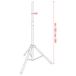 Air Pressure Speaker Stand 35mm Alluminio 1300-1900mm carico massimo 40Kg