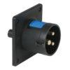 CEE 16A 240V 3p Socket Male Nero, IP44