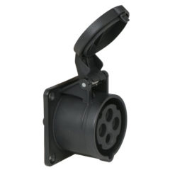 CEE 16A 400V 4p Socket Female Nero, IP44