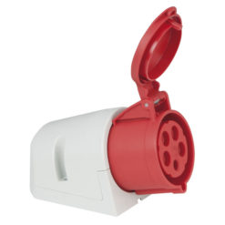 CEE 32A 400V 5p Wallmount Female Rosso, IP44