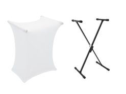 DIMAVERY Set SVT-1 Keyboard Stand + Cover white