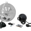 EUROLITE Mirror Ball Set 30cm with LED RGB Spot RC