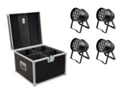 EUROLITE Set 4x LED PAR-64 HCL 12x10W bk + Case