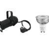 EUROLITE Set PAR-16 Spot bk + GU-10 230V COB 1x3W LED 2700K