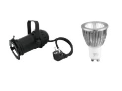 EUROLITE Set PAR-16 Spot bk + GU-10 230V COB 7W 6400K