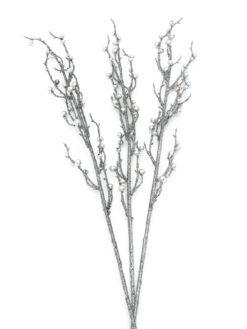 EUROPALMS Berry spray glitter silver 85cm 3x