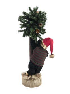 EUROPALMS Christmas bear, with fir, 105cm