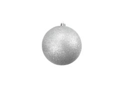 EUROPALMS Deco Ball 10cm, silver, glitter 4x
