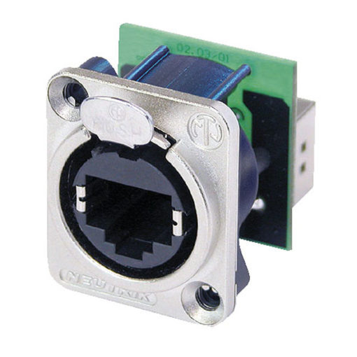 Ethercon D-size Connettore passante in flangia metallica di tipo D con sistema di aggancio sicuro. Nichel
