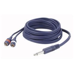 FL33 - mono Jack > 2 RCA Male L/R 3 m