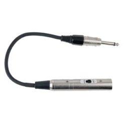 FLA02 - Jack M. (50 kilo-Ohm) > XLR M. (600 Ohm) Con corrispondenza impedenza e interruttore on/off