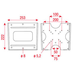 "LCD-203 LCD Bracket Flatmount per 17"" - 32"" - Fino a VESA 200, Nero"