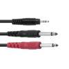 OMNITRONIC Adaptercable 3.5 Jack/2xJack ECO 3m bk