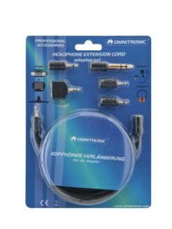 OMNITRONIC Headphone Extension 3m with Adapter Set