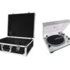 OMNITRONIC Set DD-2550 USB Turntable sil + Case black -S-