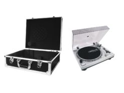 OMNITRONIC Set DD-2550 USB Turntable sil + Case black -S-
