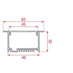 Profile Pro-line 1 Recessed Alluminio 1960 x 49 x 32mm
