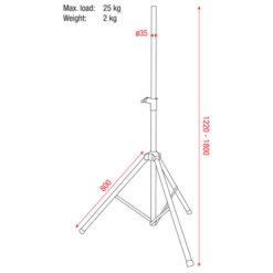 Speakerstand 35-38 mm Alluminio 1220-1.800 mm carico massimo 25 Kg