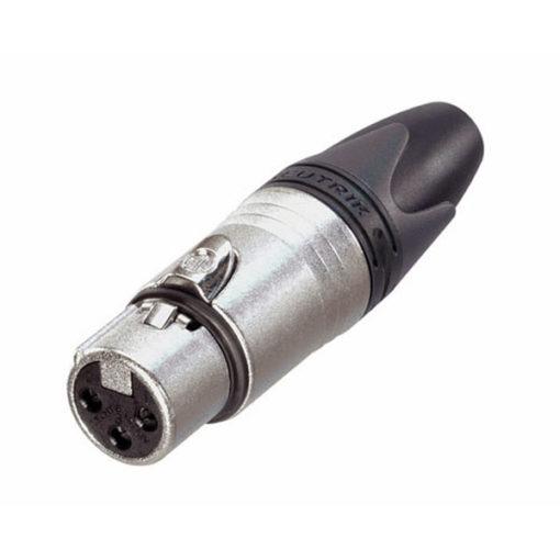 XLR 3p. Connector Female Alloggiamento in metallo nero, contatti in argento