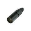 XLR 4p. Connector Male Alloggiamento nero con contatti in argento