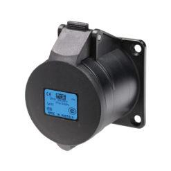 32A 230V 2P+E Black Panel Socket (323-6X)