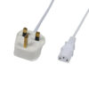 White 13A to IEC 1.5m Cable Lead (3A Fuse)
