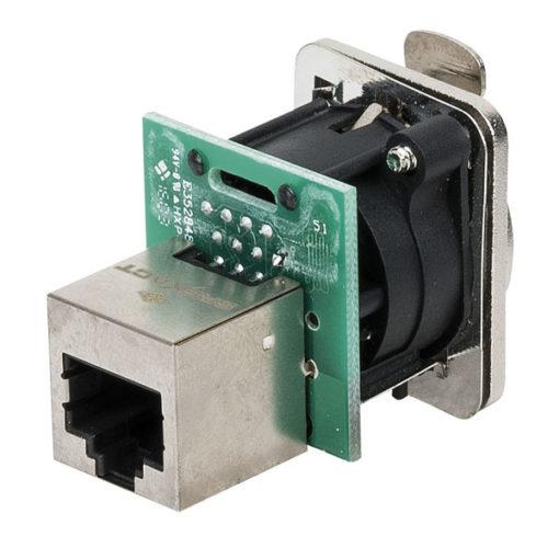 Ethernet RJ45 D-size chassis Connettore passante in flangia metallica di tipo D con sistema di aggancio sicuro. Nichel