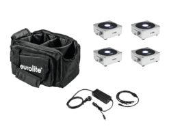 EUROLITE Set 4x AKKU Flat Light 1 silver + Soft-Bag + Charger