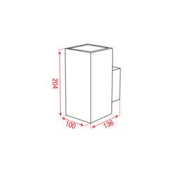 Burgos-M Square Single Nero 120-240Vac 18°