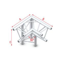 Corner 90° down left, apex down T-013 spigolo tagliato a 90° a sinistra giù apice giù