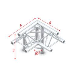 Corner 90° down left, apex up T-011 spigolo tagliato a 90° giù a sinistra apice su