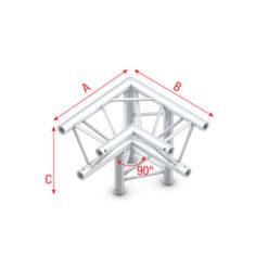 Corner 90° down right, apex down Spigolo tagliato a 90° + giù destra apice giù