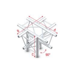 Cross + down 5-way, apex down T-024 Taglio 90° gradi + 5 vie giù/apice giù