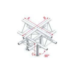 Cross + down 5-way, apex up T-025 Taglio 90° gradi + 5 vie giù/apice su