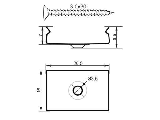 EUROLITE Mounting Bracket for U-Profil 20mm Metal