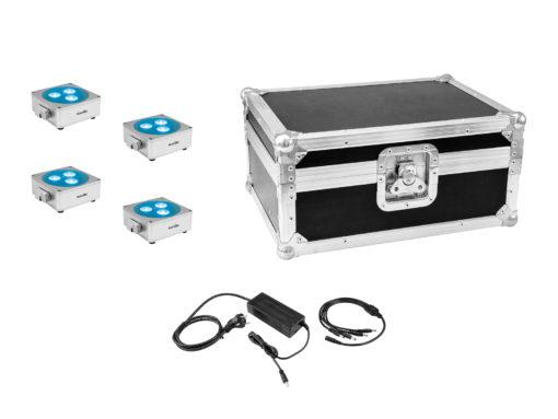 EUROLITE Set 4x AKKU Flat Light 3 sil + Charger + Case