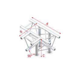 T-Cross + down 4-way T-020 taglio a T 90° + 4 vie basso