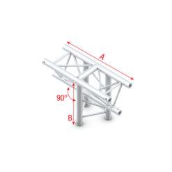 T-Cross vertical 3-way, apex down T-018 taglio a T 90° 3 vie apice giù